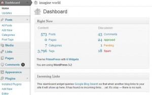 wordpress 3.2 yönetim paneli